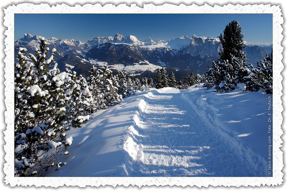 Weihnachtskarte 3: Der Schneeweg am Rittner Horn - Telos
