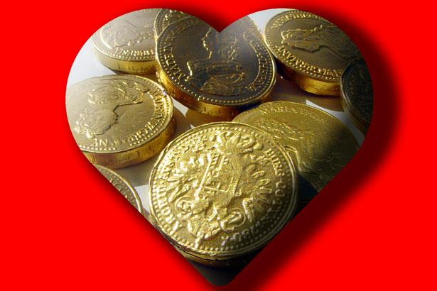 Geld Schokoladegoldmünzen Herz 09251c