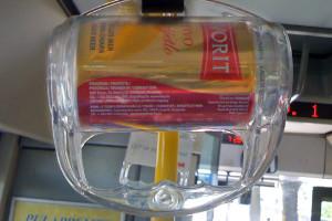 Werbung Bus Haltegriff Bierdose Istrien IMG_0556b
