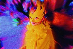 Fasching Masken Mädchen Frau Vogel Blick gelb bunt C08982cr.jpg