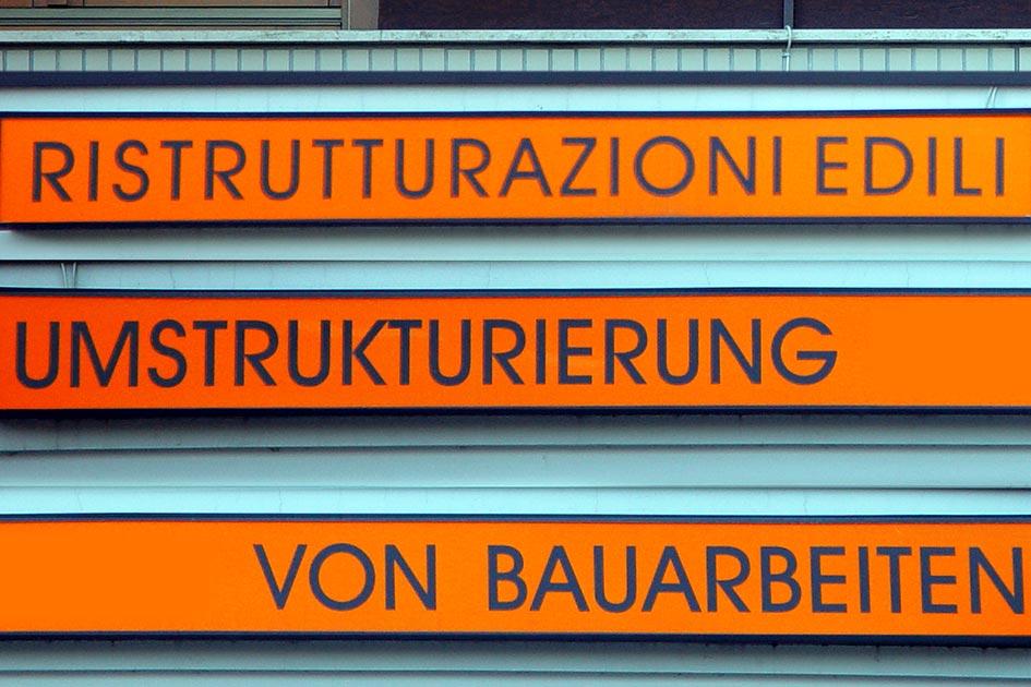 Übersetzungen Schild Umstrukturierung von Bauarbeiten 10366kl