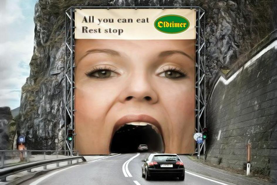Werbung Großplakat Autobahnraststätte Oldtimer 12558