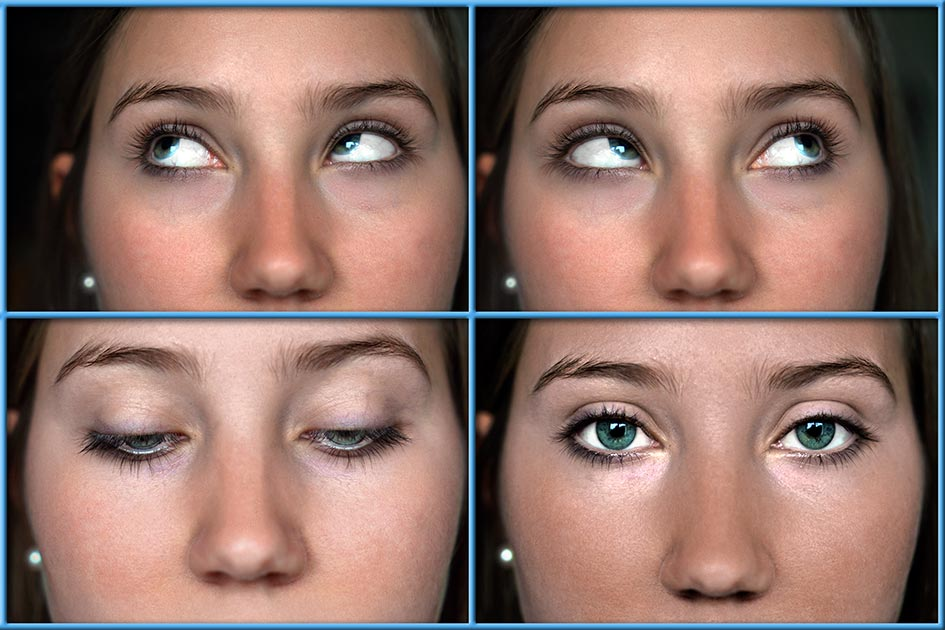 Entspannungsübung Augen bewegen Frau links rechts oben unten offen E4223c