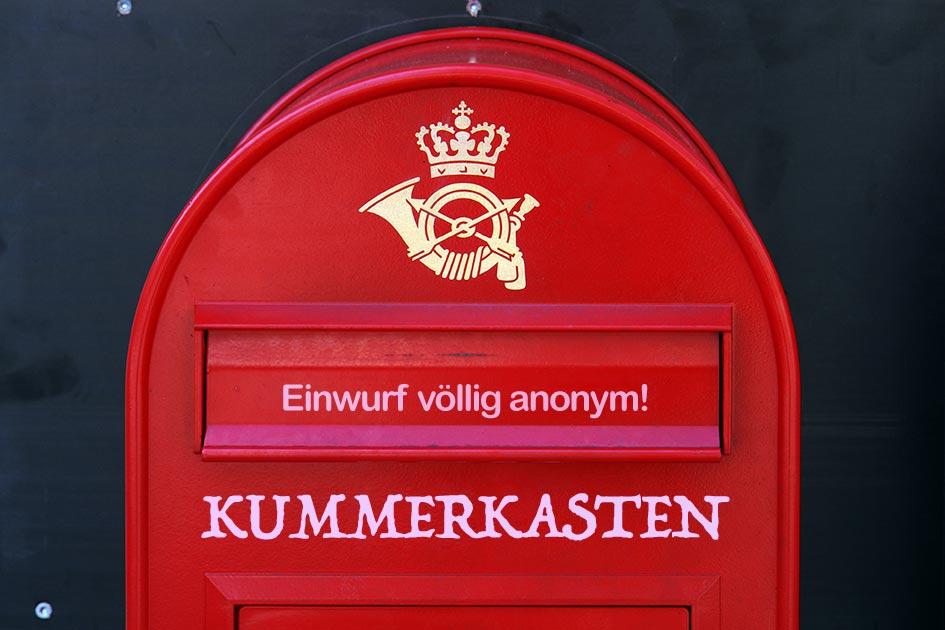 Postkasten Dänemark Kopenhagen Kummerkasten Einwurf anonym D5369