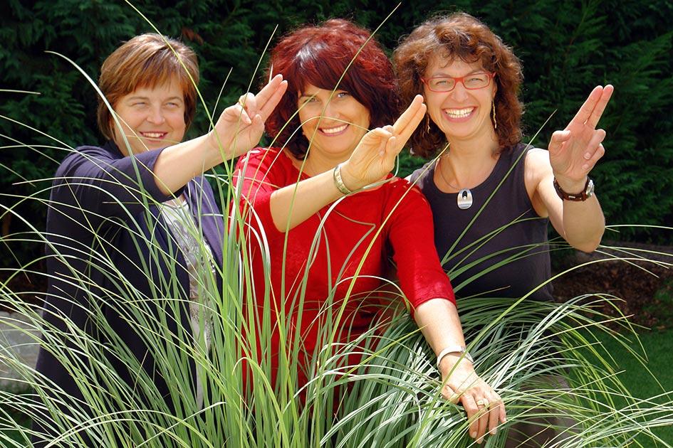 TELOS Garten Sonne Lachen Frauen Seminarpause EMDR Sitzung nachspielen C08178cn