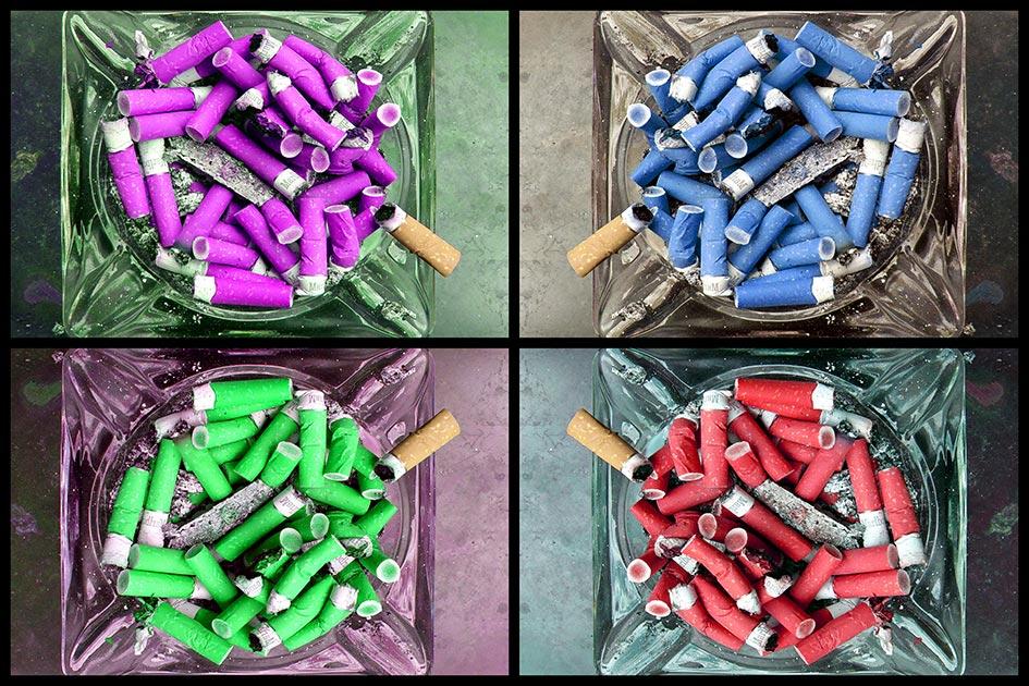 Zigaretten rauchen Aschenbecher voll alle Farben 14715a