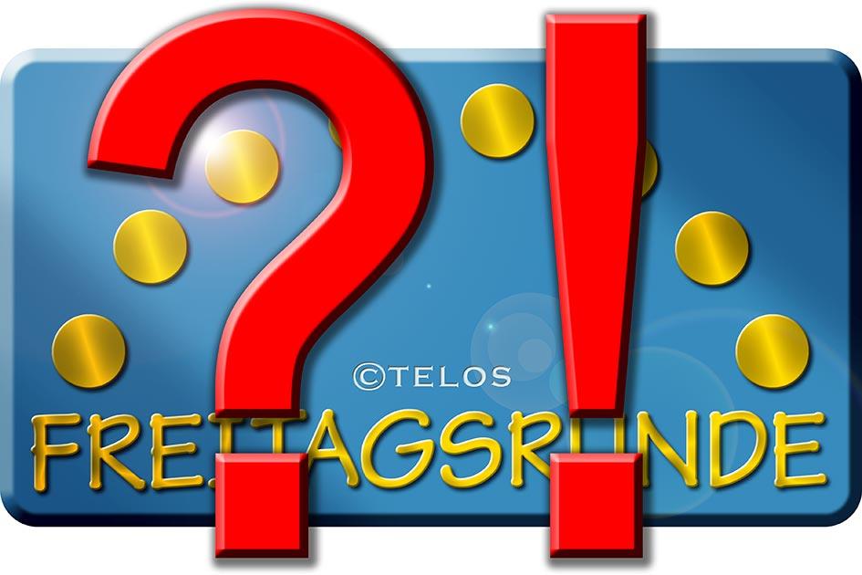 FR Freitagsrunde Logo Glanz Fragezeichen Rufezeichen 08929cfn