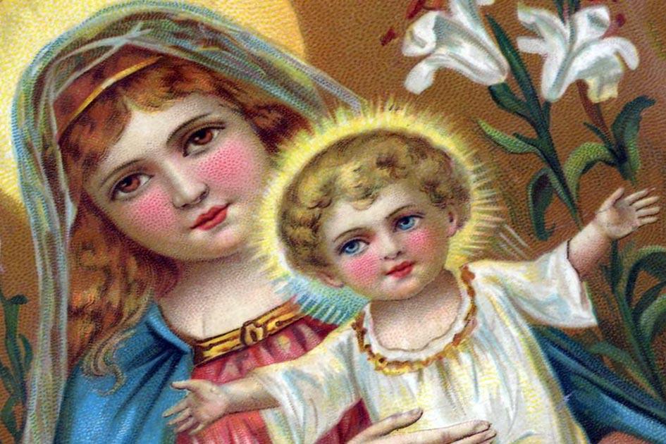 Postkarte Heiligenbildchen kitschig Maria Jesukind 10041nb