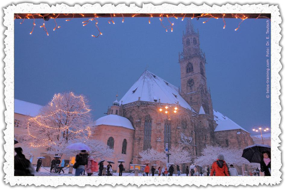 Weihnachtskarte 11: Dom, Schnee und Weihnachstmarkt - Telos