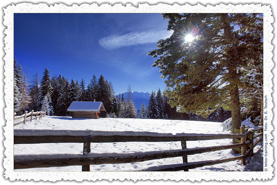 Weihnachtskarte 13: Die kleine Hütte im Schnee - Telos