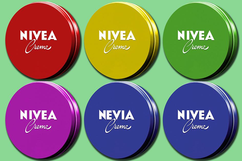 Werbung Nivea Creme Dose Logo Farben bunt 2406a