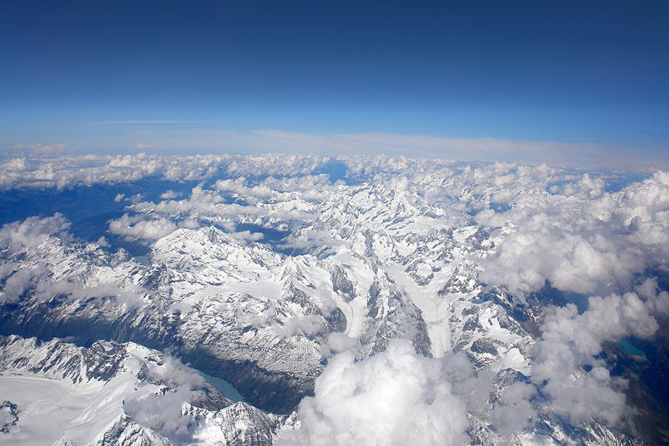 Himmel Wolken Berge Gletscher Flugaufnahme / Foto: TELOS - B6398c