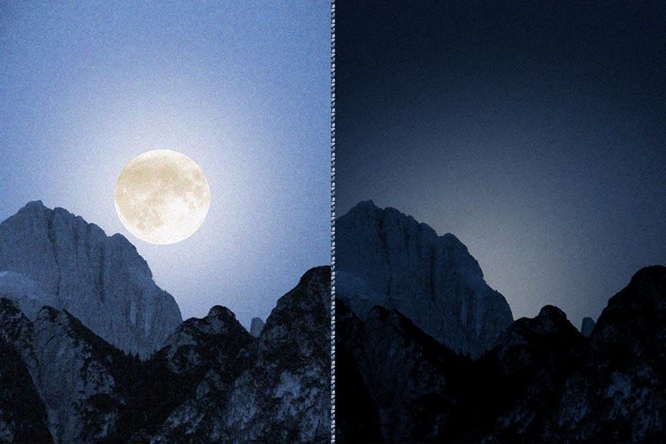 Nacht Vollmond Rosengarten beide / Foto: TELOS - P1060538bbr