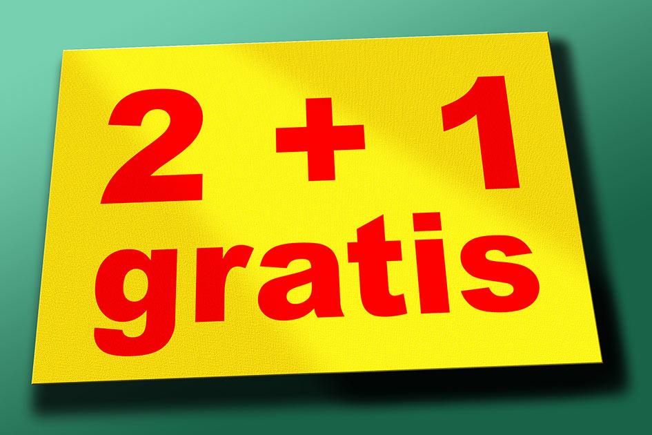 Preisschild 2+1 gratis / Grafik: TELOS - 05905