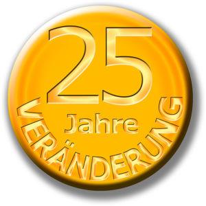Veränderung 2020 Button 25 Jahre Gold / Grafik: TELOS