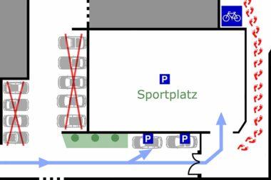 TELOS Lageplan Zufahrt 3 Parkpläze Eingang / Grafik: TELOS - 2811b