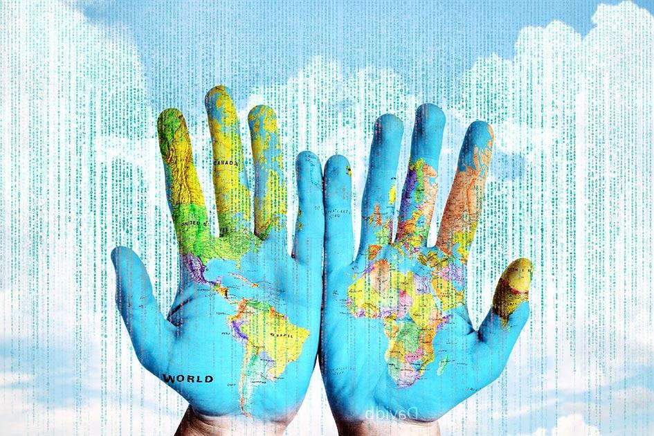 Hand Weltkarte Datenströme Internet weltweit verbunden / Bildbearbeitung: TELOS - 2831