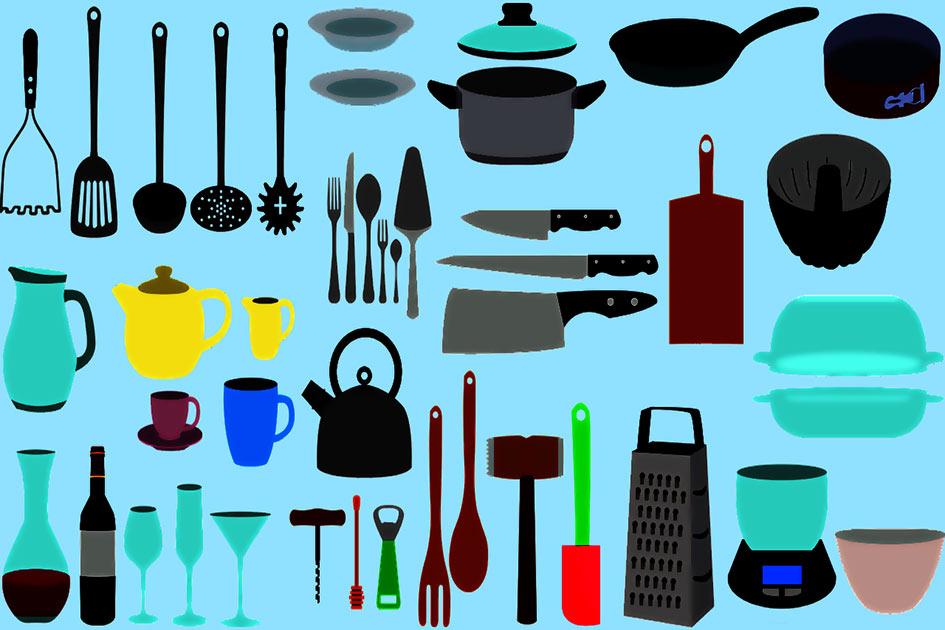 Haushalt Küchengeräte kochen essen trinken Illustration / Fotobearbeitung: TELOS - 2839