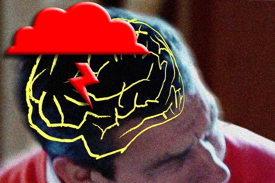 Gehirn Foto Mensch Ärger Zorn Wut Streit Streit Wolken Blitz Mann / Foto: TELOS - B2135a