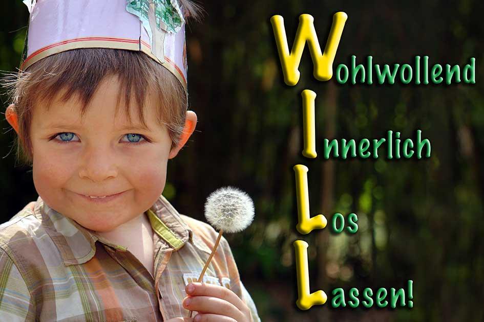 """Kind Löwenzahn Pusteblume Seminarübung """"Das WILL-Prinzip"""" wohlwollend innerlich los lassen / Foto: TELOS - C1841bbg"""