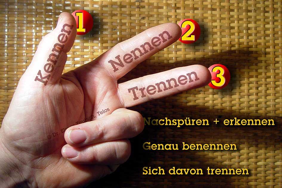 Körpersprache Gesten Hand Mann Finger 3 kennen nennen trennen / Foto: TELOS - 11921bsg