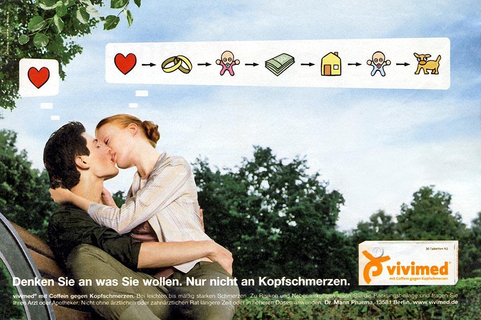 Werbung Anzeige Vivimed Kopfschmerzen Mann Frau Gedanken Unterschied / Repro: TELOS